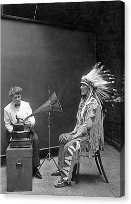 Piegan Chief Having Voice Recorded Canvas Print by Underwood Archives