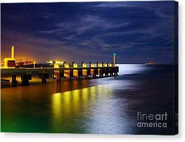 Pier At Night Canvas Print by Carlos Caetano