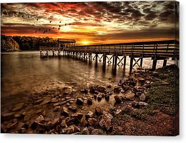 Pier At Smith Mountain Lake Canvas Print by Joshua Minso