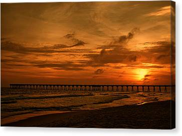 Pier At Sunset Canvas Print by Sandy Keeton