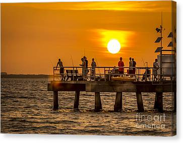 Pier Fishing Canvas Print by Marvin Spates