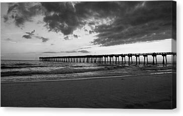 Pier In Black And White Canvas Print by Sandy Keeton
