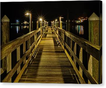 Pier Into The Night Canvas Print by Len Saltiel