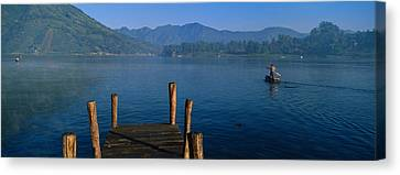 Pier On A Lake, Santiago, Lake Atitlan Canvas Print by Panoramic Images