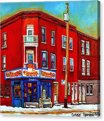 Pierrette Patates 3900 Verdun Restaurant Montreal Streets And Shops City Of Verdun Art Work Scenes Canvas Print by Carole Spandau