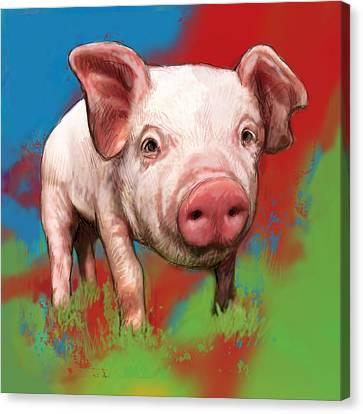 Pig Stylised Pop Modern Art Drawing Sketch Portrait Canvas Print by Kim Wang