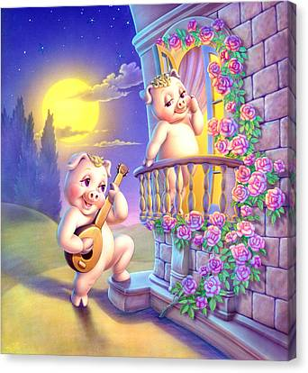 Pigglets Romeo And Juliette Canvas Print by Andrew Farley