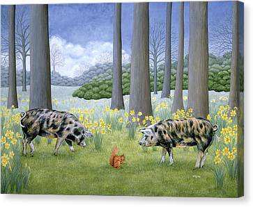 Piggy In The Middle Canvas Print by Ditz