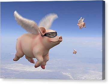 Pigs Fly 1 Canvas Print by Mike McGlothlen