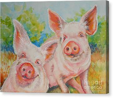 Pigs Pink And Happy Canvas Print by Summer Celeste