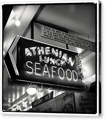 Pike Place Market Athenian Sign Canvas Print by Tanya Harrison