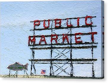 Pike Place Market Canvas Print by Linda Woods