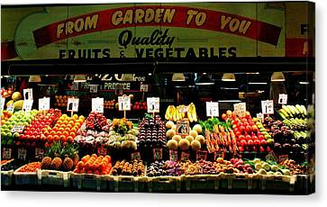 Pikes Market Fruit Stand Canvas Print by Benjamin Yeager