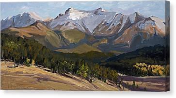 Pikes Peak Panoramic Canvas Print by Mary Giacomini