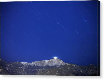 Pikes Peak Under The Stars Canvas Print by Darren  White
