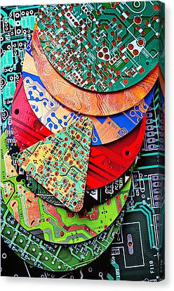Pile Of Circuit Boards Canvas Print by Garry Gay