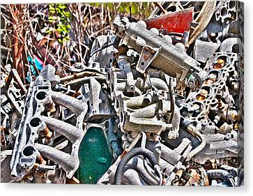 Piles Of Engines - Automotive Recycling Canvas Print by Crystal Harman
