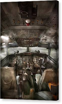 Pilot - Boeing 707  - Cockpit - We Need A Pilot Or Two Canvas Print by Mike Savad