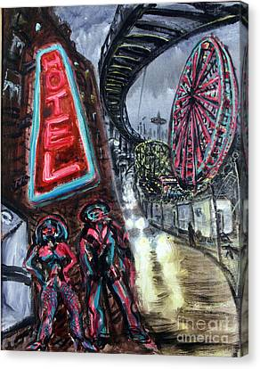 Pimp And Prostitute In Coney Island Canvas Print by Arthur Robins