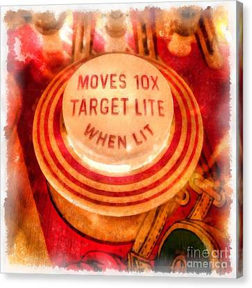 Pinball Machine Watercolor Canvas Print by Edward Fielding