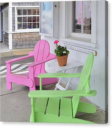 Pink And Green Chairs Watch Hill Rhode Island Canvas Print by Marianne Campolongo