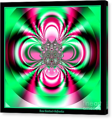 Pink And Green Rotating Flower Fractal 74  Canvas Print by Rose Santuci-Sofranko