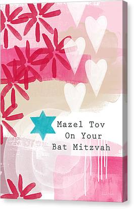 Pink And White Bat Mitzvah- Greeting Card Canvas Print by Linda Woods