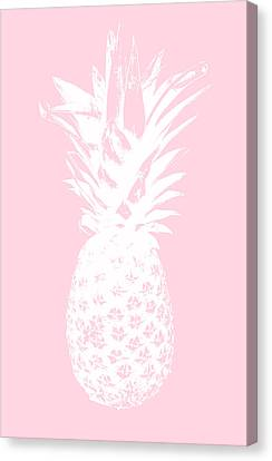 Pink And White Pineapple Canvas Print by Linda Woods