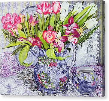 Pink And White Tulips Orchids And Blue Antique China Canvas Print by Joan Thewsey