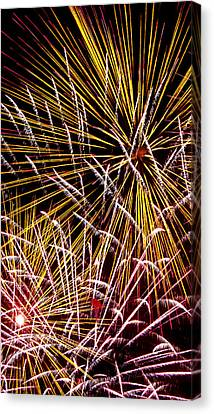 Pink And Yellow Fireworks Canvas Print by Weston Westmoreland