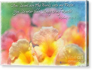 Pink And Yellow Lantana With Verse Canvas Print by Debbie Portwood