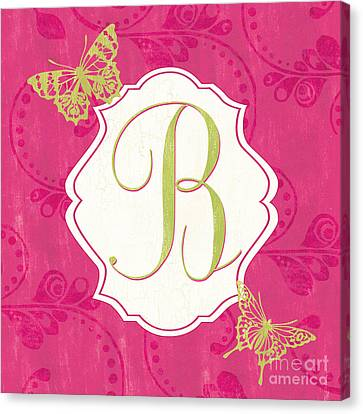 Pink Butterfly Monogram Canvas Print by Debbie DeWitt