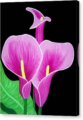 Pink Calla Lillies 2 Canvas Print by Angelina Vick
