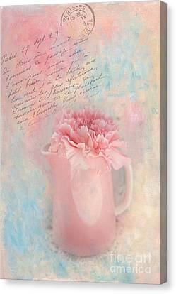Pink Carnation In Pitcher Canvas Print by Kay Pickens