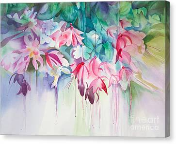 Pink Flowers Watercolor Canvas Print by Michelle Wiarda