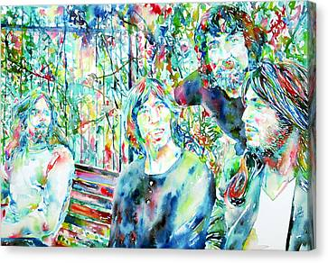 Pink Floyd At The Park Watercolor Portrait Canvas Print by Fabrizio Cassetta