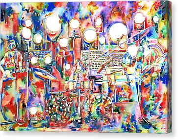 Pink Floyd Live Concert Watercolor Painting.1 Canvas Print by Fabrizio Cassetta