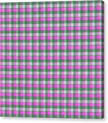 Pink Green And White Plaid Pattern Cloth Background Canvas Print by Keith Webber Jr