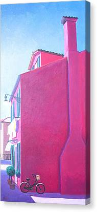 Pink House In Burano Italy Canvas Print by Jan Matson