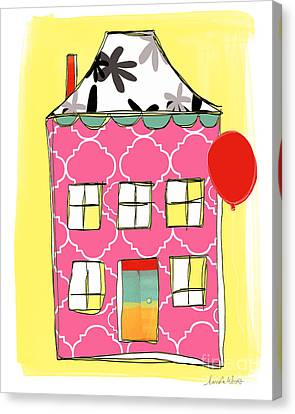 Pink House Canvas Print by Linda Woods