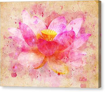 Pink Lotus Flower Abstract Artwork Canvas Print by Nikki Marie Smith