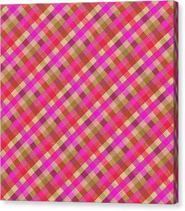 Pink Magenta And Green Plaid Textile Background Canvas Print by Keith Webber Jr