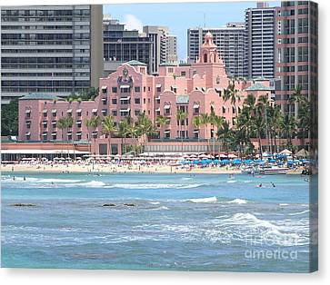 Pink Palace On Waikiki Beach Canvas Print by Mary Deal