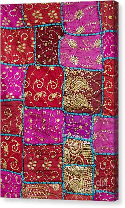 Pink Patchwork Indian Wall Hanging Canvas Print by Tim Gainey