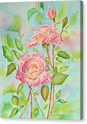 Pink Roses And Bud Canvas Print by Kathryn Duncan