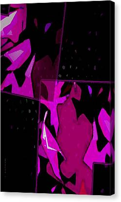 Pink And Purple On Black Art Canvas Print by Mario Perez