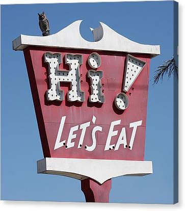 Pink Sign - Let's Eat Canvas Print by Art Block Collections