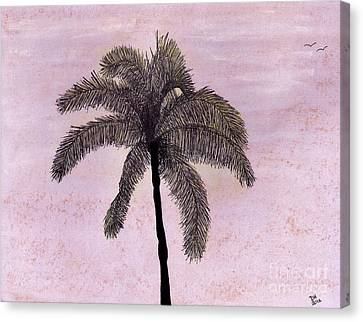 Pink - Sky - Palm Canvas Print by D Hackett