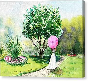 Pink Umbrella Canvas Print by Irina Sztukowski