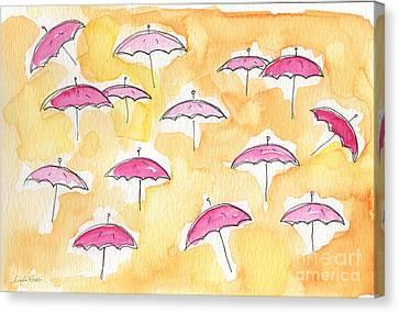 Pink Umbrellas Canvas Print by Linda Woods